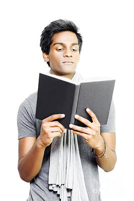 Asian Student Studying From Textbook Poster