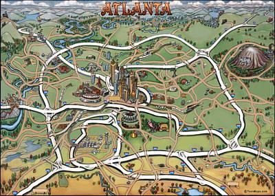 Atlanta Cartoon Map Poster by Kevin Middleton