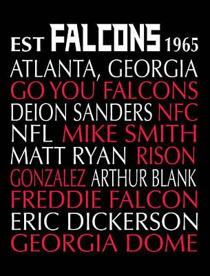 Atlanta Falcons Poster by Jaime Friedman