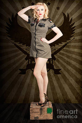 Attractive Blond Pin-up Army Girl. Military Salute Poster