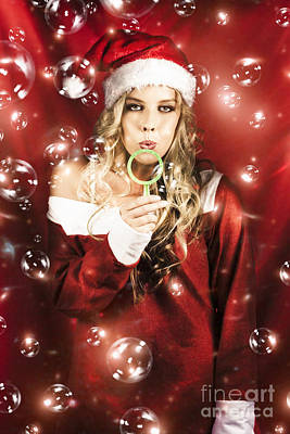 Attractive Christmas Woman Blowing Magic Bubbles Poster
