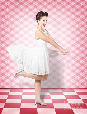 Attractive Pinup Woman Running In Surprise Poster