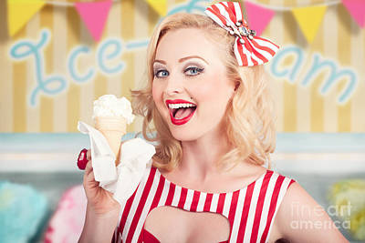 Attractive Retro Pinup Girl Eating Ice Cream Cone Poster by Jorgo Photography - Wall Art Gallery