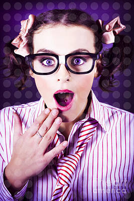Attractive Young Nerd Girl With Surprised Look Poster