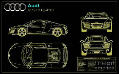 Audi R8 Blueprint Poster by Jon Neidert