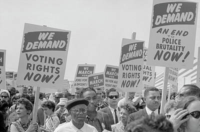 August 28, 1963 - Marchers With Signs Poster