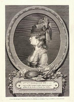 Augustin De Saint-aubin French, 1736 - 1807. Portrait Poster by Litz Collection