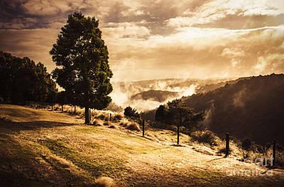 Autumn Forest Landscape. Misty Morning Sunrise Poster