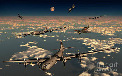 B-29 Superfortress Planes Under Attack Poster by Mark Stevenson