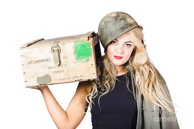 Backup Pinup Girl Wearing Army Helmet And Supplies Poster