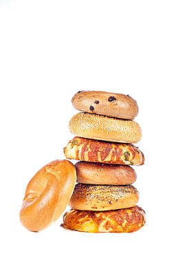 Bagels On White Background Poster by Joe Belanger