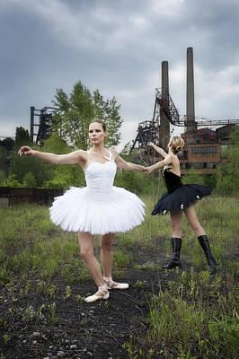 Ballerinas In Black And White Poster by Radka Linkova
