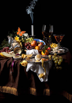 Banquet With Oysters And Fruit Poster