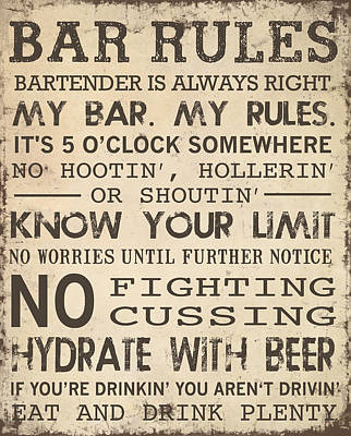 Poster featuring the digital art Bar Rules by Jaime Friedman