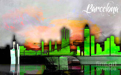 Barcelona Spain Skyline Watercolor Poster by Marvin Blaine