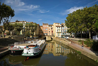 Barges On The Canal Du Midi As It Runs Poster by Panoramic Images