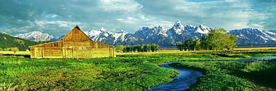 Barn In A Field With Mountain Range Poster by Panoramic Images