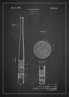 Baseball Bat Patent Drawing From 1920 Poster