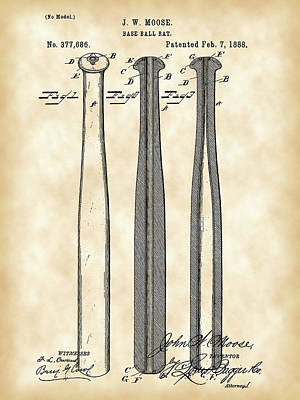Baseball Bat Patent 1888 - Vintage Poster by Stephen Younts