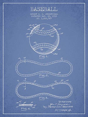Baseball Patent Drawing From 1928 Poster by Aged Pixel