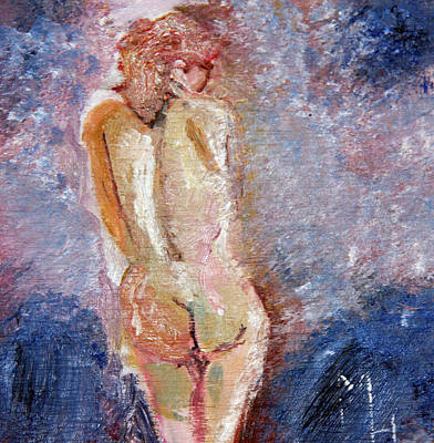 Poster featuring the painting Bashful Nude by Michael Helfen