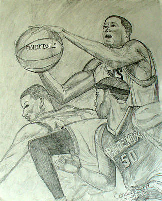 Basketball Player 2 Poster by Darlene Ricks- Parker
