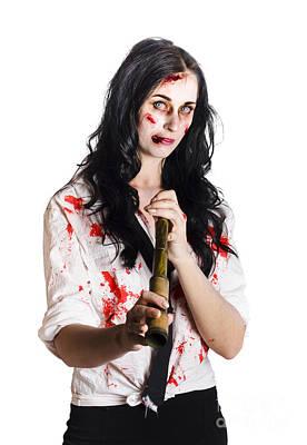 Battered Business Girl Preparing For The Worst  Poster