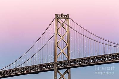 Bay Bridge Lights At Sunset Poster
