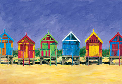Beach Huts Poster by Brian James