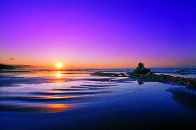 beach of Sopelana at sunset Poster by Mikel Martinez de Osaba