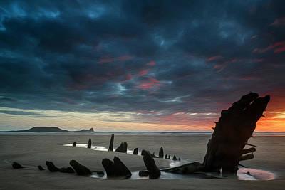 Beautiful Dramatic Sunset Landscape Over Shipwreck On Rhosilli Bay Beach Digital Painting Poster
