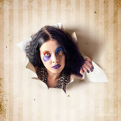 Beautiful Female Jester Breaking Out Of Wallpaper Poster