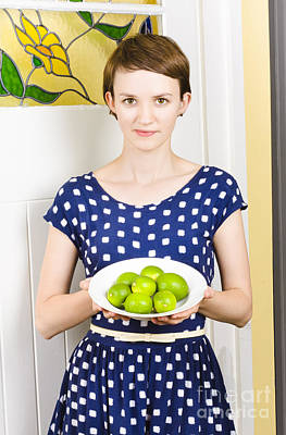 Beautiful Girl Holding Bowl Of Green Limes Poster
