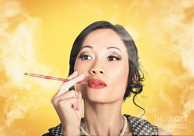 Beautiful Reto Lady Smoking On Yellow Background Poster by Jorgo Photography - Wall Art Gallery