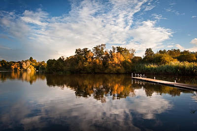 Beautiful Sunset Over Autumn Fall Lake With Crystal Clear Reflec Poster