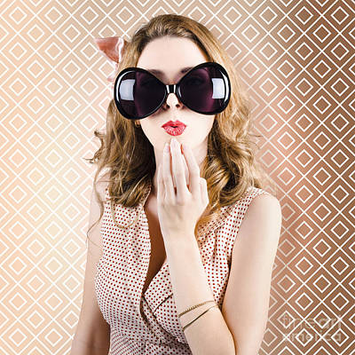 Beautiful Surprised Girl Wearing Big Sunglasses Poster by Jorgo Photography - Wall Art Gallery