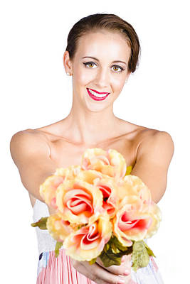 Beautiful Woman Holding Florist Flowers Poster by Jorgo Photography - Wall Art Gallery