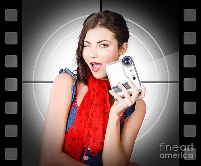 Beautiful Woman Holding Home Video Camera Poster by Jorgo Photography - Wall Art Gallery