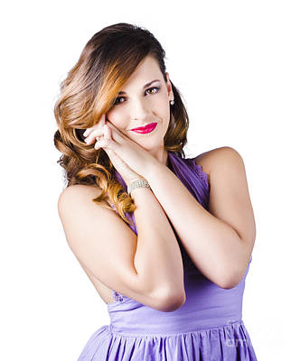Beautiful Woman In Purple Dress Poster