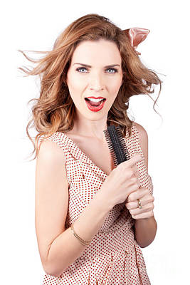 Beautiful Woman Singing Into A Hair Styling Brush Poster