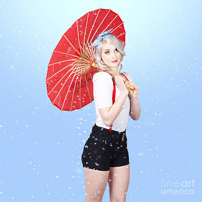 Beautiful Woman Standing Outdoor In Spring Rain Poster