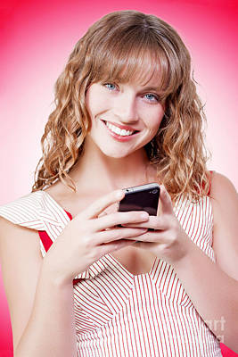 Beautiful Woman Texting On Her Cellphone Poster