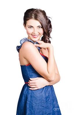 Beautiful Woman Wearing Denim Dress Retro Fashion Poster by Jorgo Photography - Wall Art Gallery