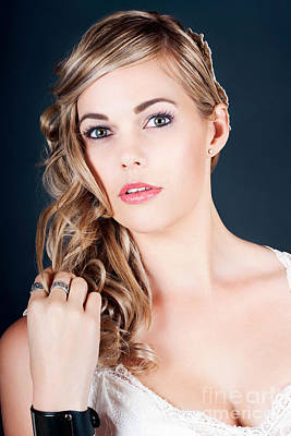 Beautiful Young Bride With Perfect Hair And Makeup Poster