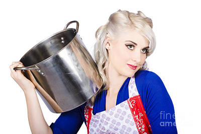 Beautiful Young Housewife Holding Kitchen Utensils Poster