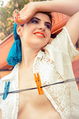 Beautiful Young Woman Holding Arm Up With Washing Line Poster
