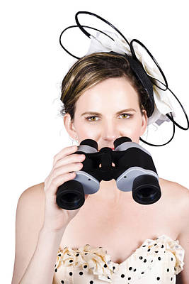 Beautiful Young Woman With Binoculars Poster
