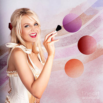 Beauty Woman Using Rouge Blush Color Pallet Poster