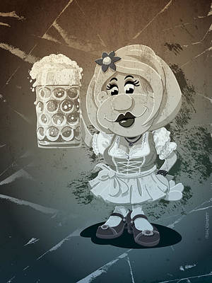 Beer Stein Dirndl Oktoberfest Cartoon Woman Grunge Monochrome Poster by Frank Ramspott