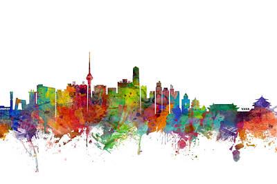 Beijing China Skyline Poster by Michael Tompsett